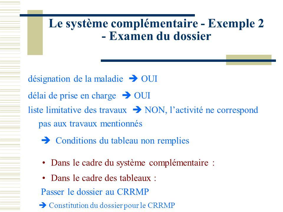 Le système complémentaire - Exemple 2 - Examen du dossier
