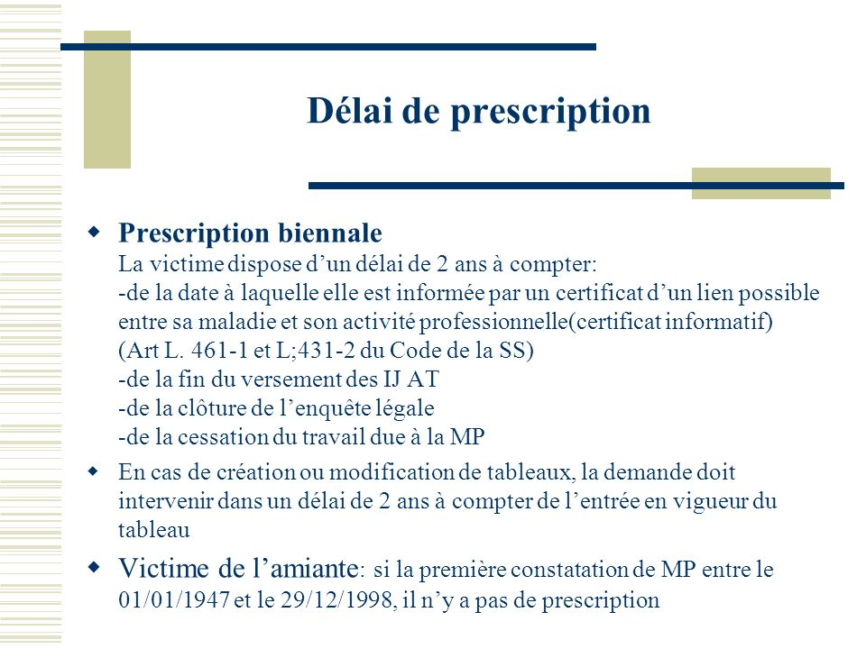 Délai de prescription