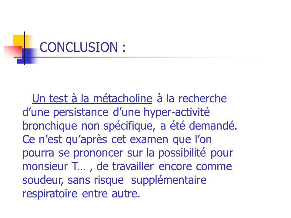 CONCLUSION : Un test à la métacholine à la recherche d'une persistance d'une hyper-activité bronchique non spécifique, a été demandé.