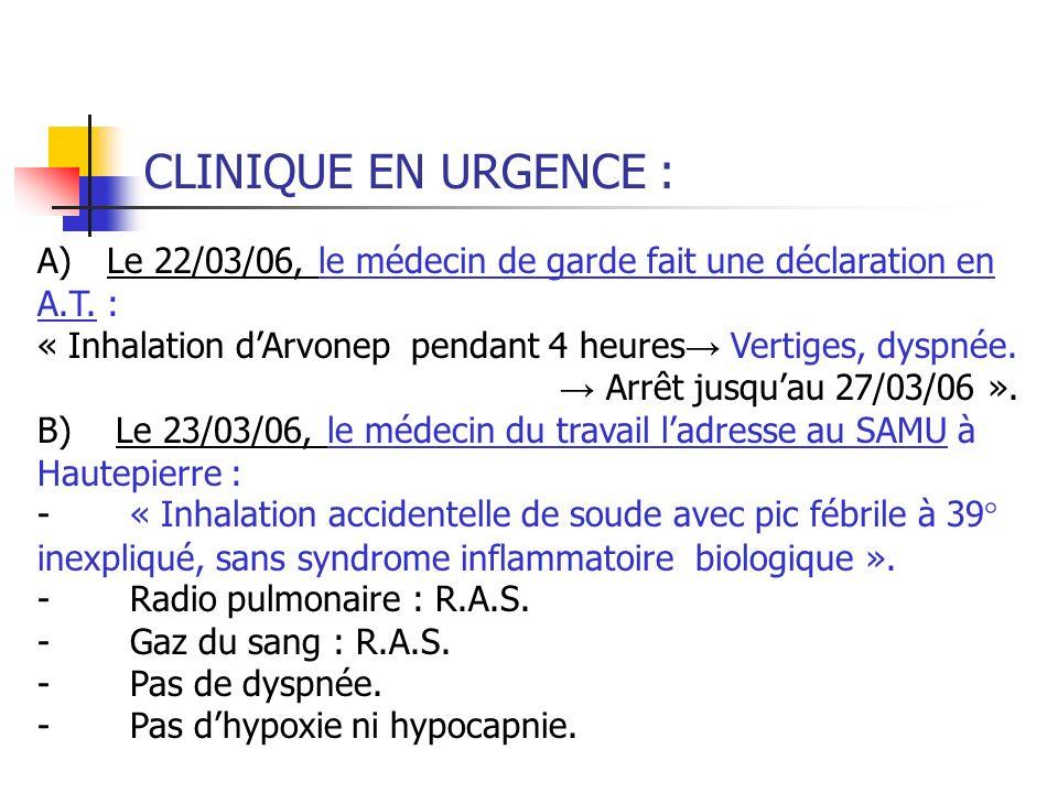 CLINIQUE EN URGENCE : A) Le 22/03/06, le médecin de garde fait une déclaration en A.T. :