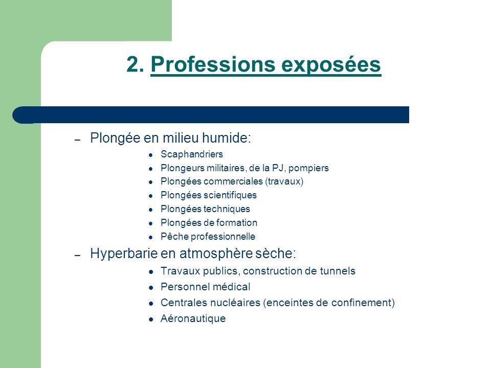 2. Professions exposées Plongée en milieu humide: