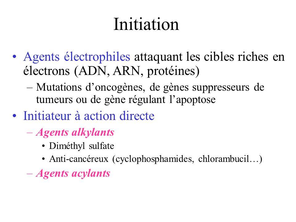 Initiation Agents électrophiles attaquant les cibles riches en électrons (ADN, ARN, protéines)