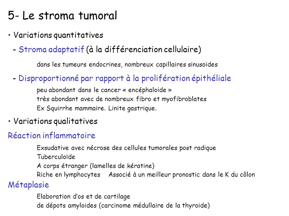 5- Le stroma tumoral Variations quantitatives
