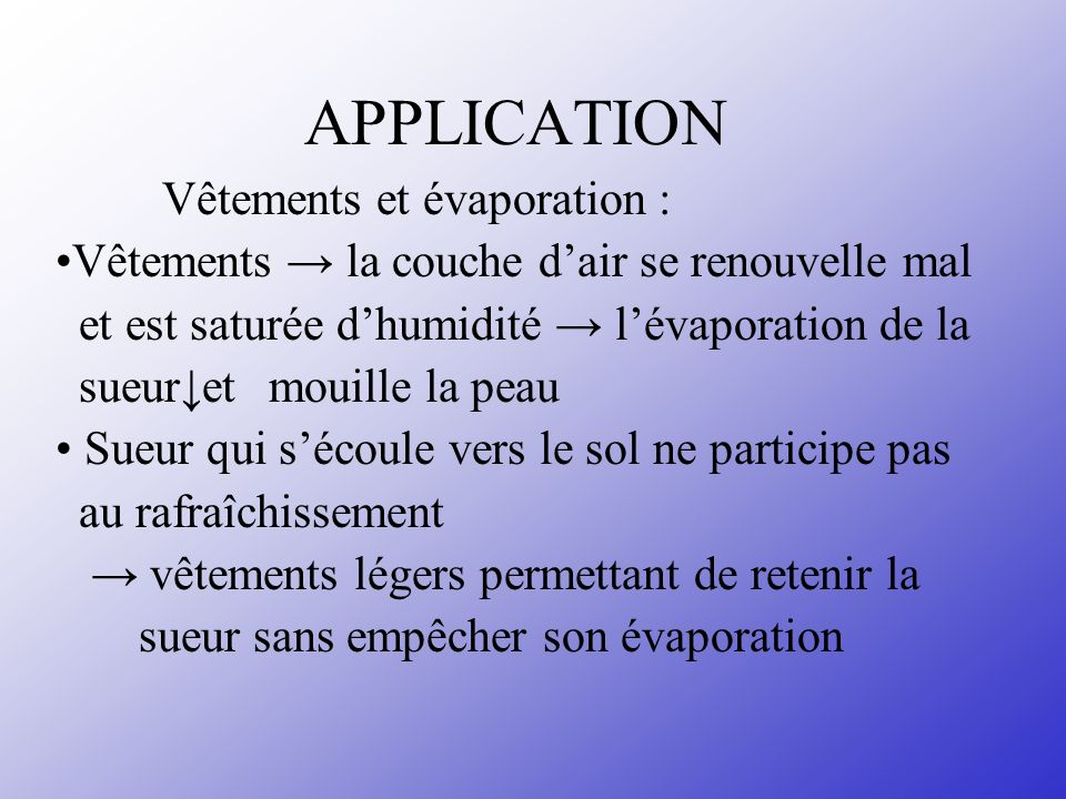 APPLICATION Vêtements et évaporation :