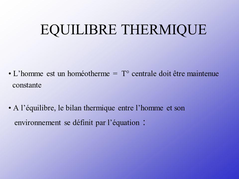 EQUILIBRE THERMIQUE • L'homme est un homéotherme = T° centrale doit être maintenue. constante.