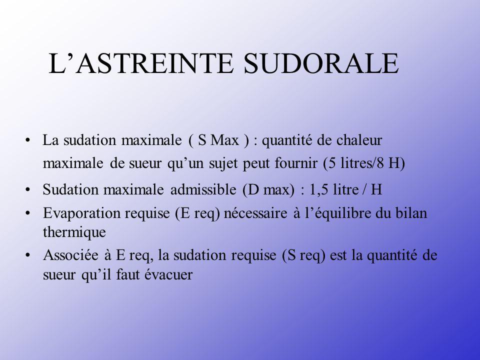 L'ASTREINTE SUDORALE • La sudation maximale ( S Max ) : quantité de chaleur. maximale de sueur qu'un sujet peut fournir (5 litres/8 H)