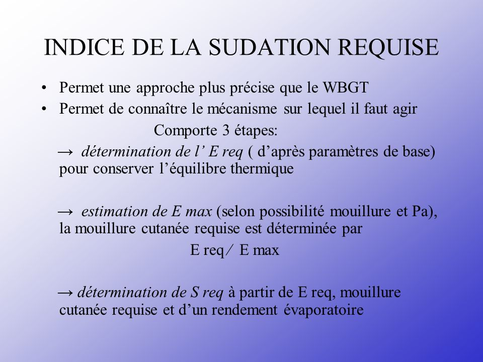 INDICE DE LA SUDATION REQUISE