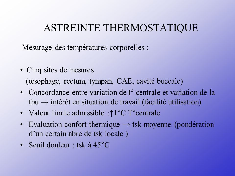 ASTREINTE THERMOSTATIQUE