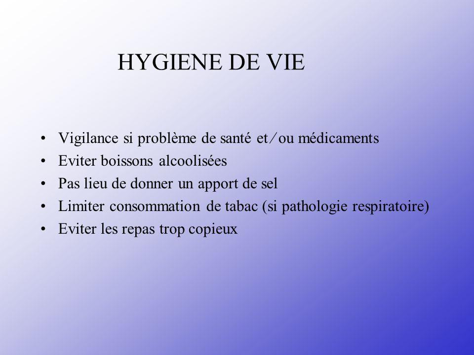 HYGIENE DE VIE Vigilance si problème de santé et ∕ ou médicaments