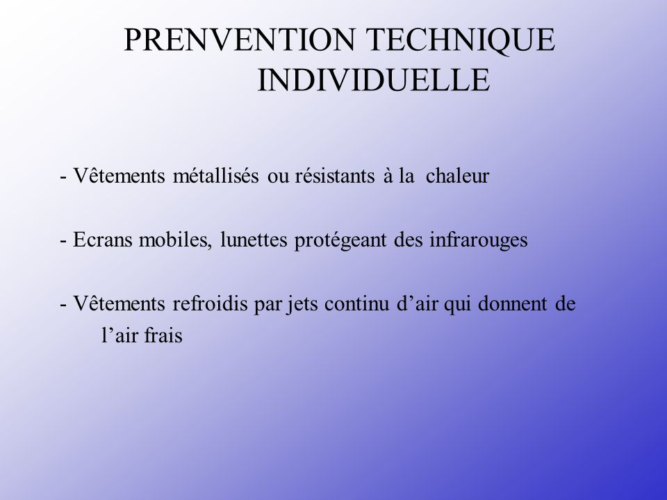 PRENVENTION TECHNIQUE INDIVIDUELLE