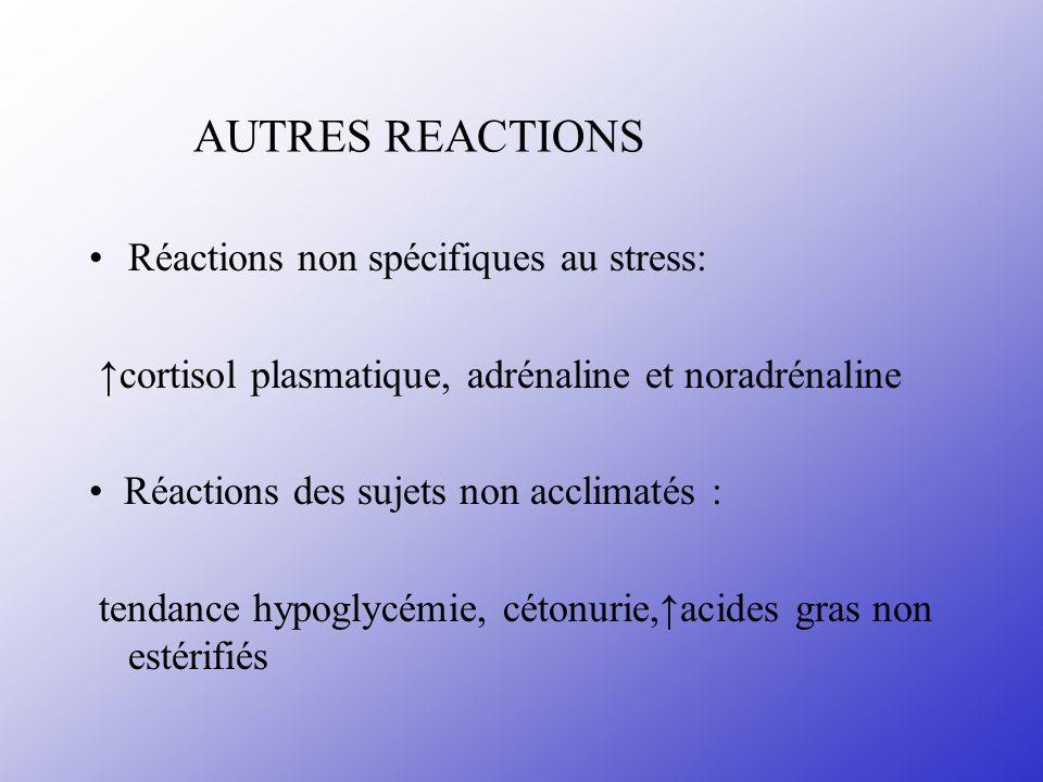 AUTRES REACTIONS Réactions non spécifiques au stress: