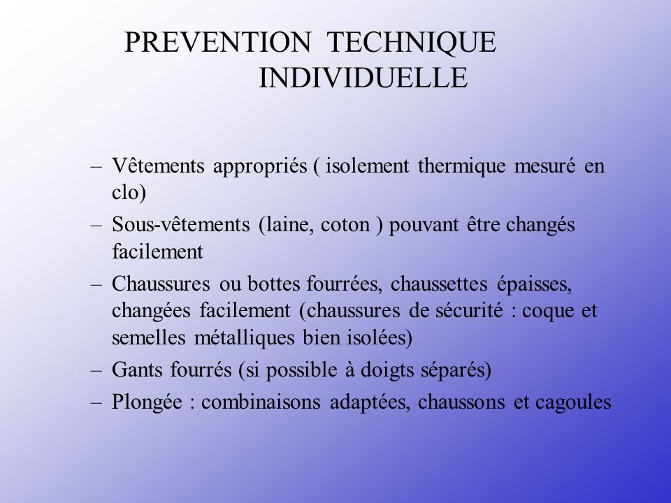 PREVENTION TECHNIQUE INDIVIDUELLE