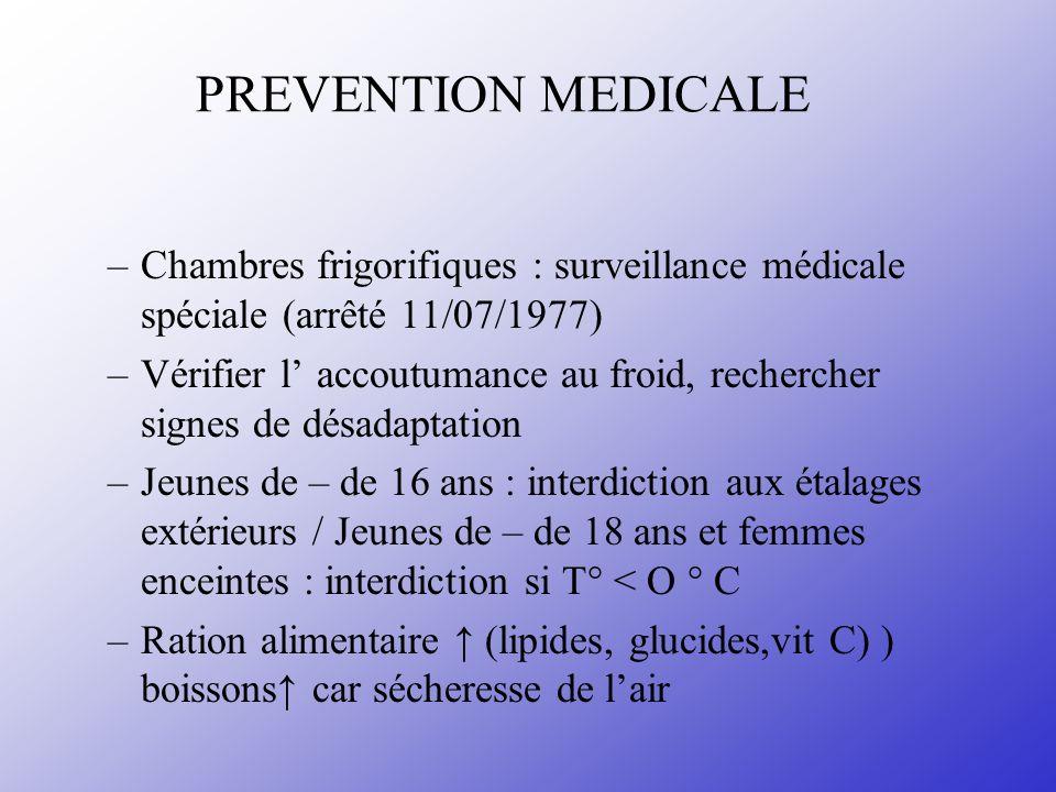 PREVENTION MEDICALE Chambres frigorifiques : surveillance médicale spéciale (arrêté 11/07/1977)
