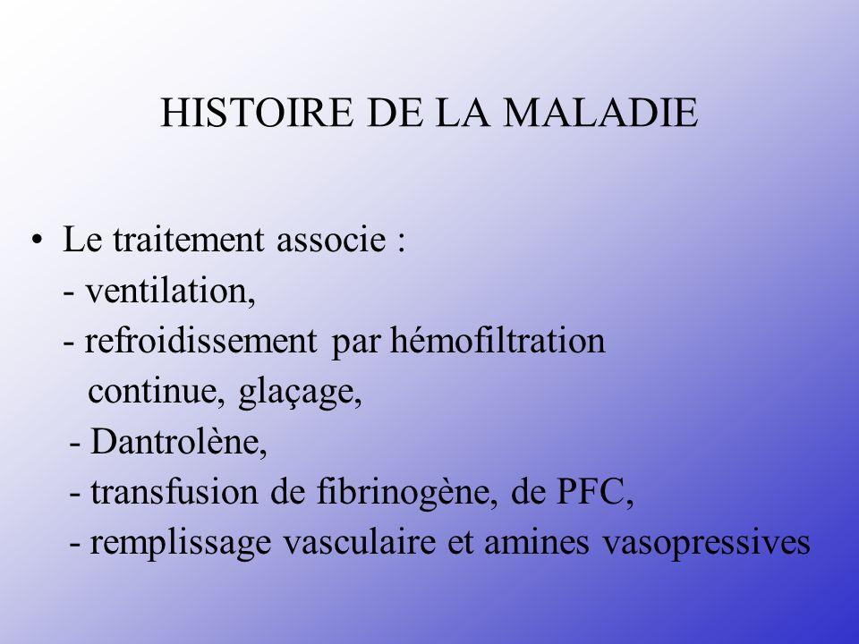 HISTOIRE DE LA MALADIE Le traitement associe : - ventilation,