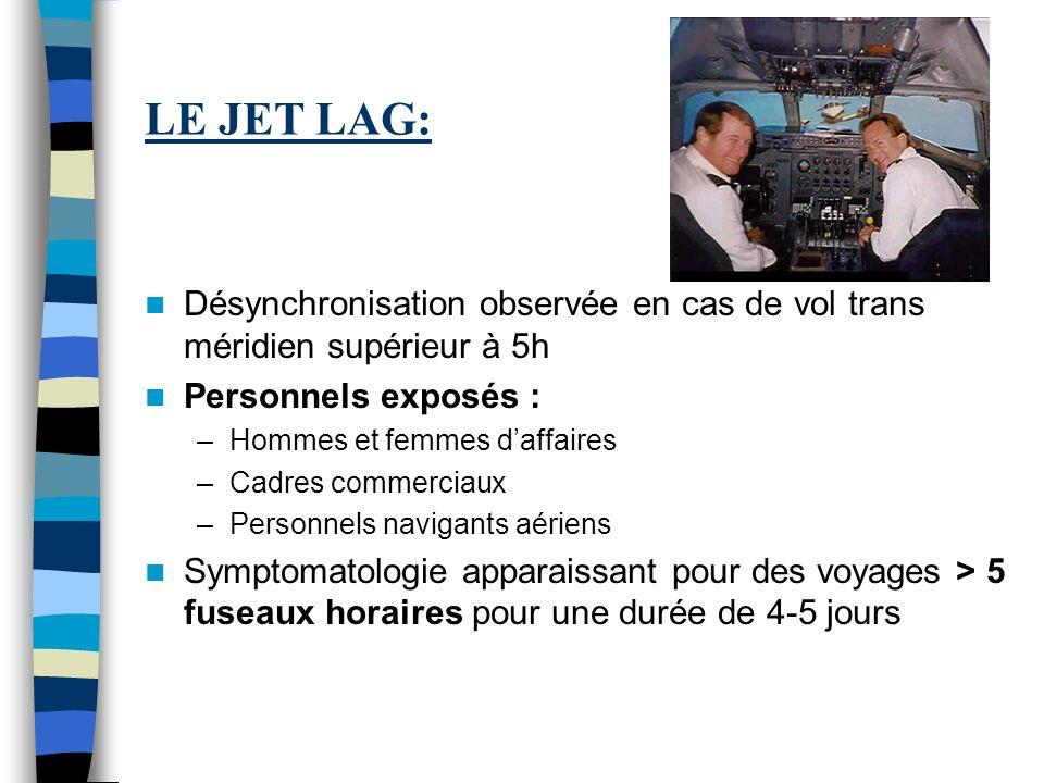 LE JET LAG: Désynchronisation observée en cas de vol trans méridien supérieur à 5h. Personnels exposés :