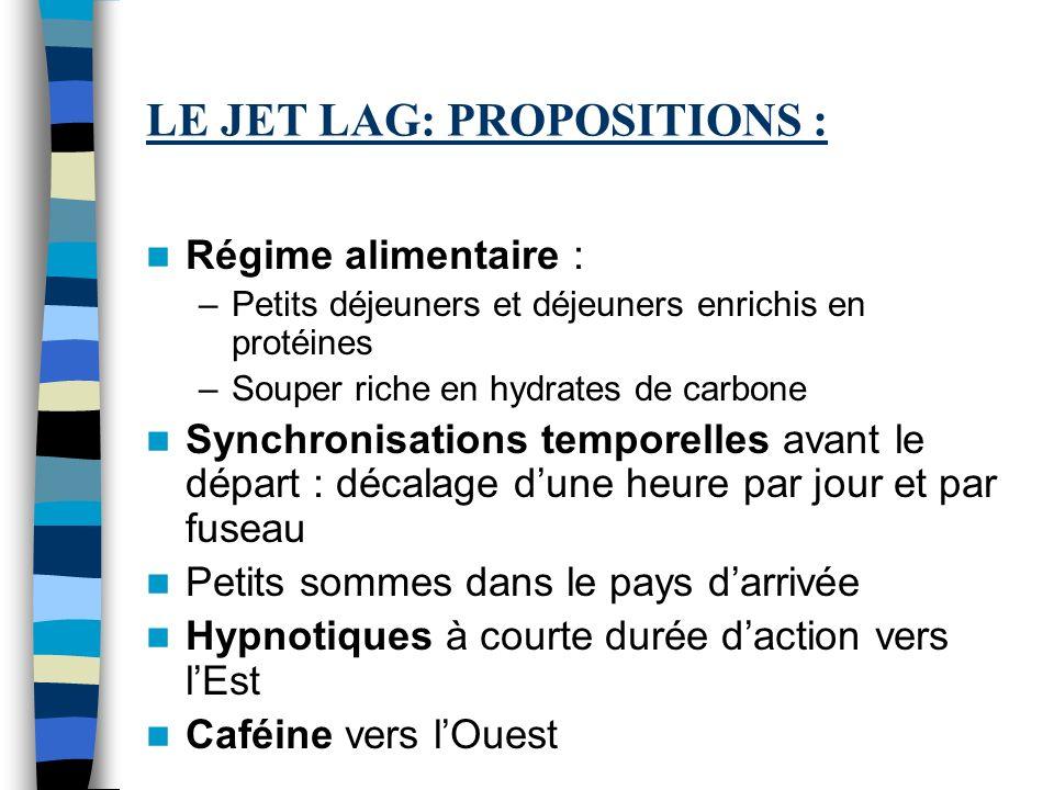 LE JET LAG: PROPOSITIONS :
