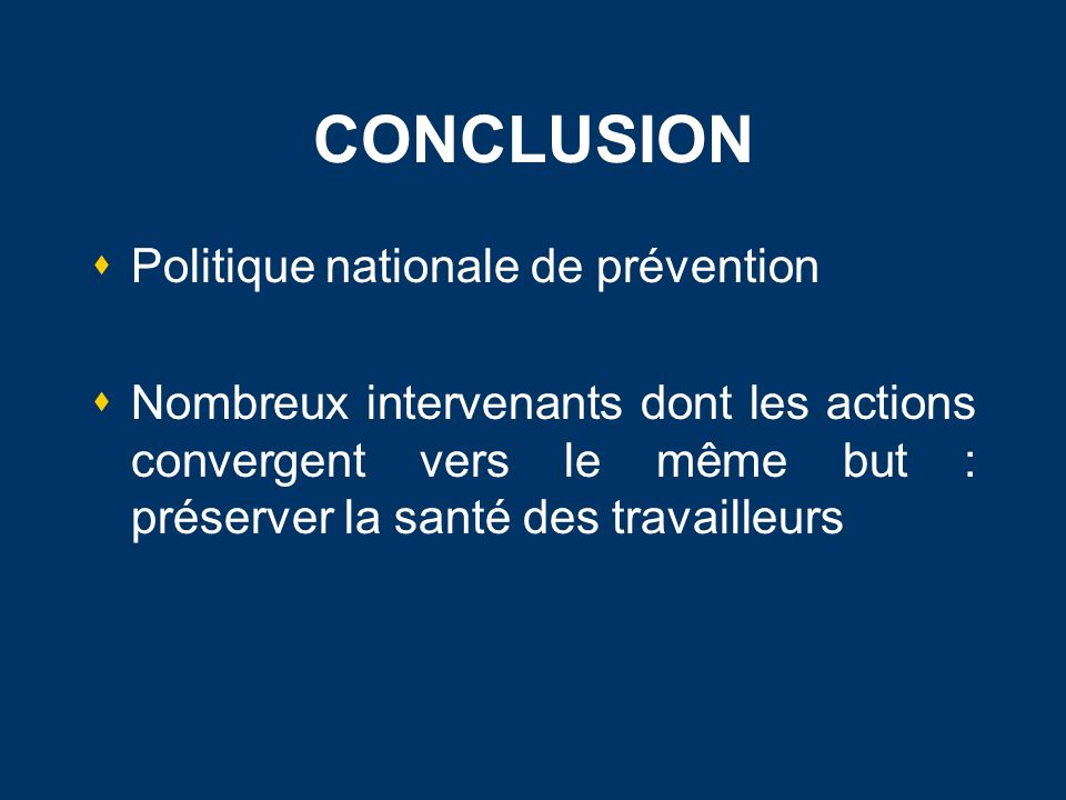 CONCLUSION Politique nationale de prévention