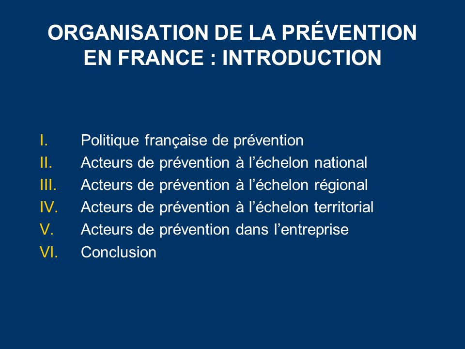 ORGANISATION DE LA PRÉVENTION EN FRANCE : INTRODUCTION