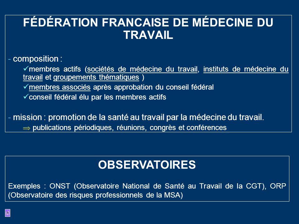 FÉDÉRATION FRANCAISE DE MÉDECINE DU TRAVAIL