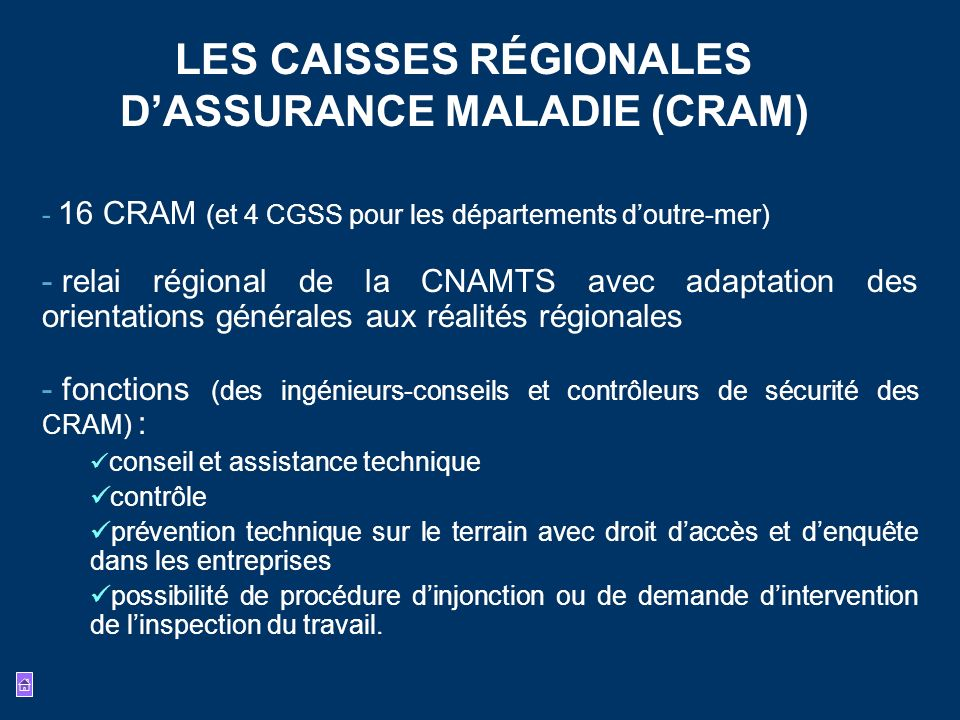 LES CAISSES RÉGIONALES D'ASSURANCE MALADIE (CRAM)