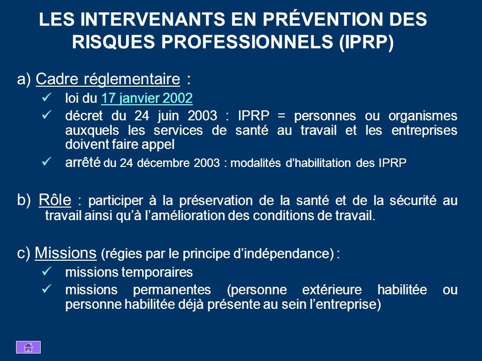 LES INTERVENANTS EN PRÉVENTION DES RISQUES PROFESSIONNELS (IPRP)