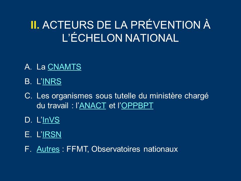 II. ACTEURS DE LA PRÉVENTION À L'ÉCHELON NATIONAL