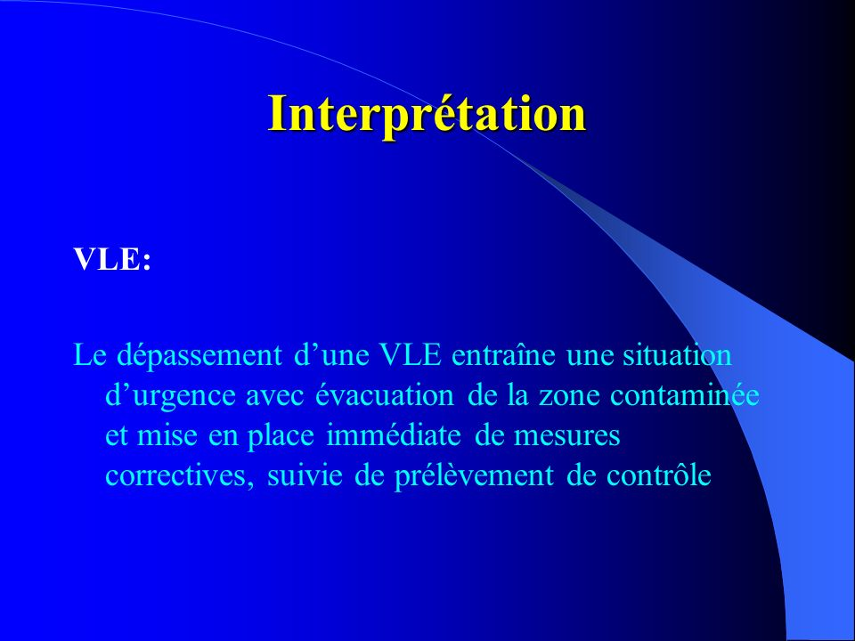 Interprétation VLE:
