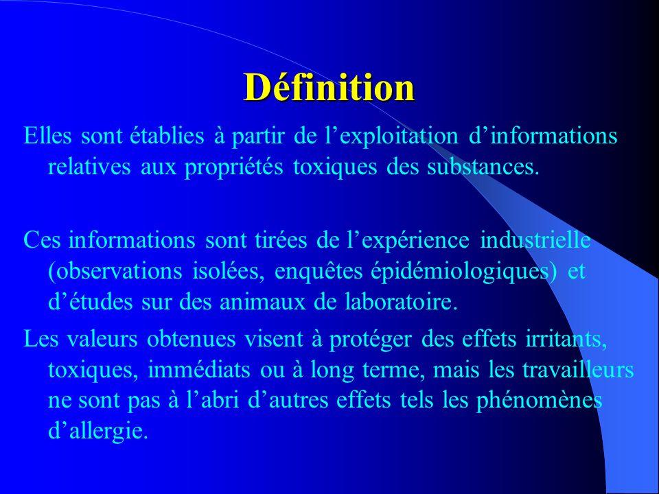 DéfinitionElles sont établies à partir de l'exploitation d'informations relatives aux propriétés toxiques des substances.