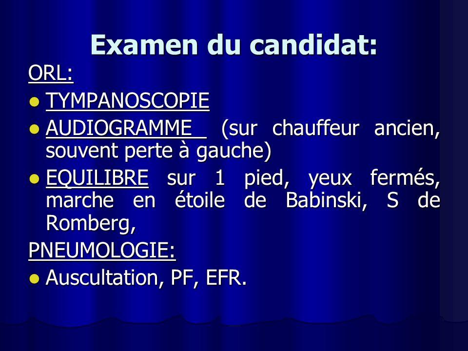 Examen du candidat: ORL: TYMPANOSCOPIE