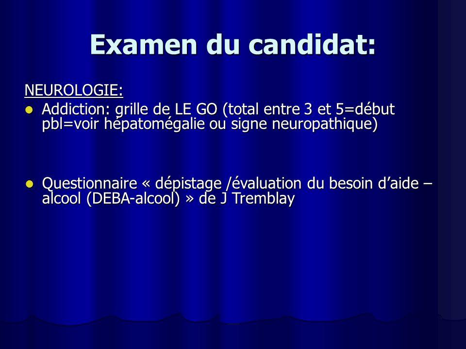 Examen du candidat: NEUROLOGIE: