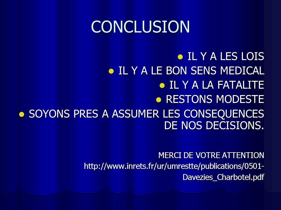 CONCLUSION IL Y A LES LOIS IL Y A LE BON SENS MEDICAL