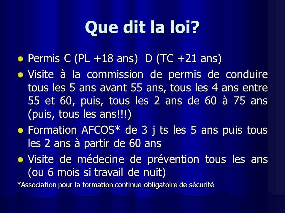 Que dit la loi Permis C (PL +18 ans) D (TC +21 ans)