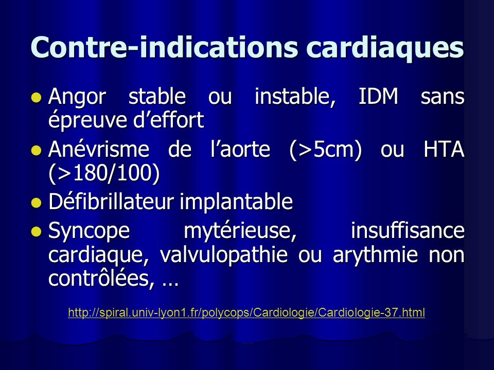 Contre-indications cardiaques