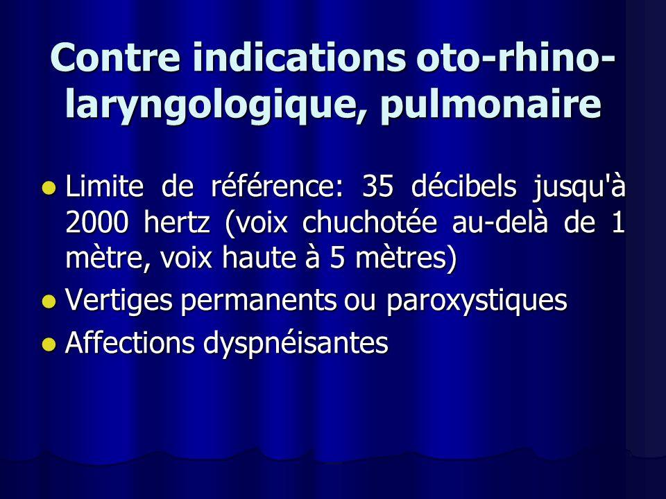 Contre indications oto-rhino-laryngologique, pulmonaire
