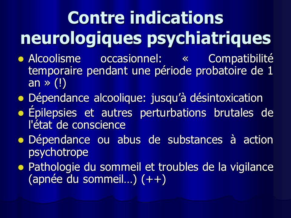 Contre indications neurologiques psychiatriques