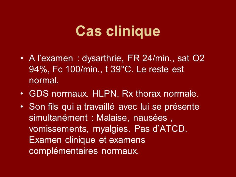 Cas clinique A l'examen : dysarthrie, FR 24/min., sat O2 94%, Fc 100/min., t 39°C. Le reste est normal.