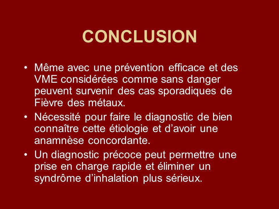 CONCLUSION Même avec une prévention efficace et des VME considérées comme sans danger peuvent survenir des cas sporadiques de Fièvre des métaux.