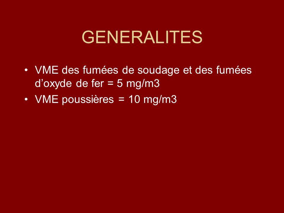 GENERALITES VME des fumées de soudage et des fumées d'oxyde de fer = 5 mg/m3.