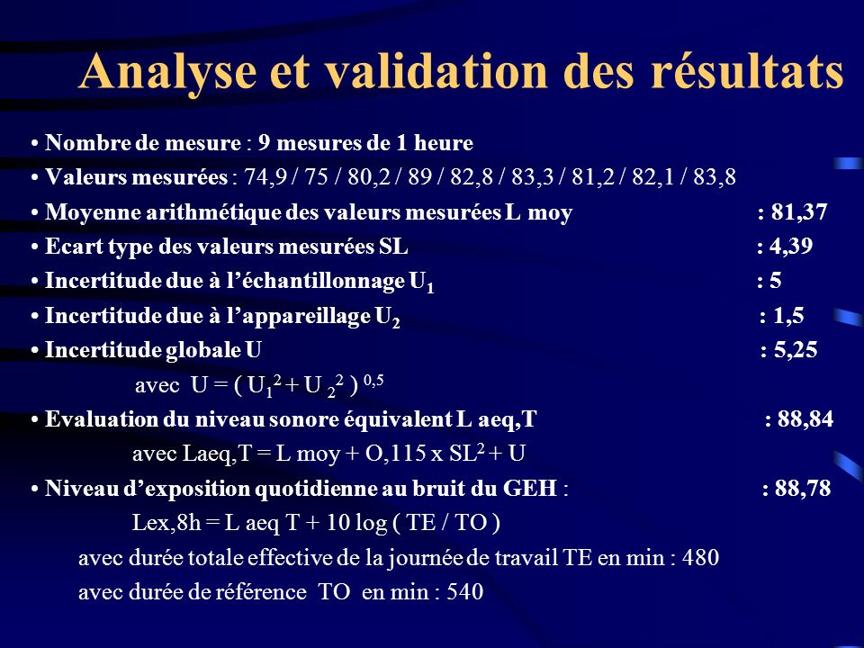 Analyse et validation des résultats