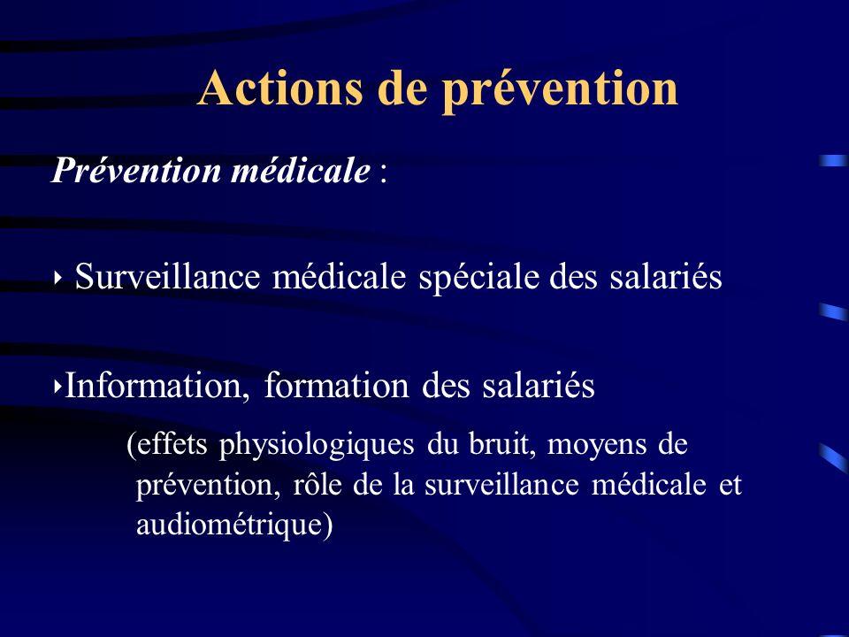 Actions de prévention Prévention médicale :