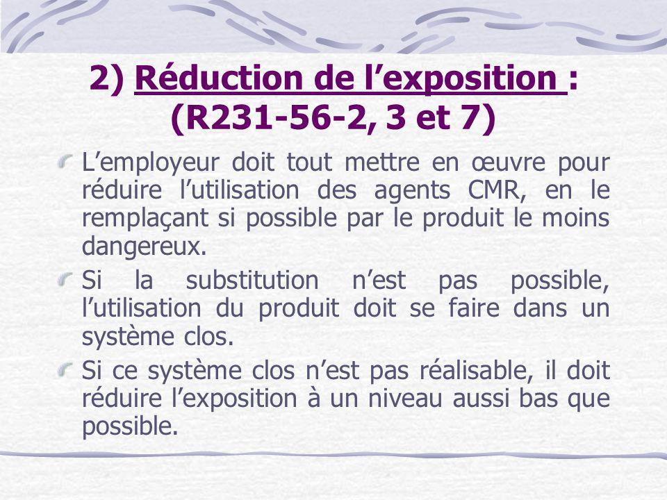 2) Réduction de l'exposition : (R231-56-2, 3 et 7)