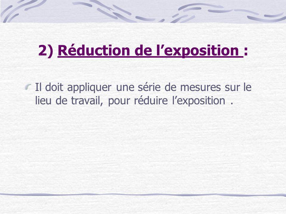 2) Réduction de l'exposition :