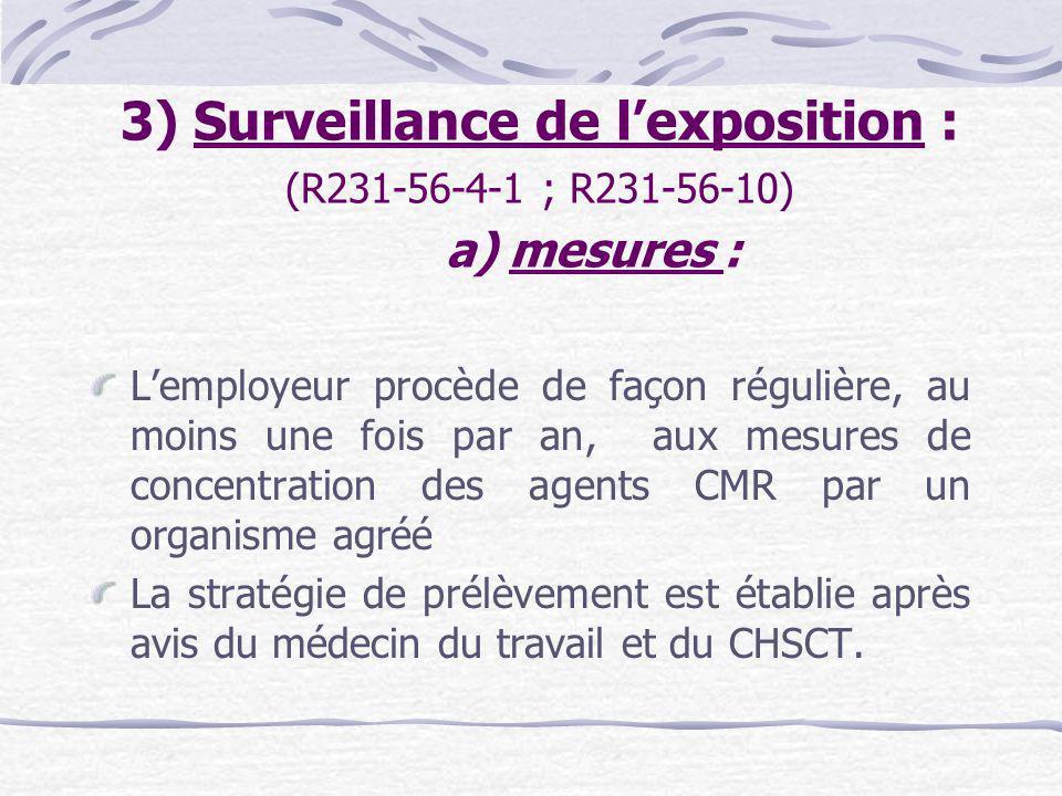 3) Surveillance de l'exposition : (R231-56-4-1 ; R231-56-10)