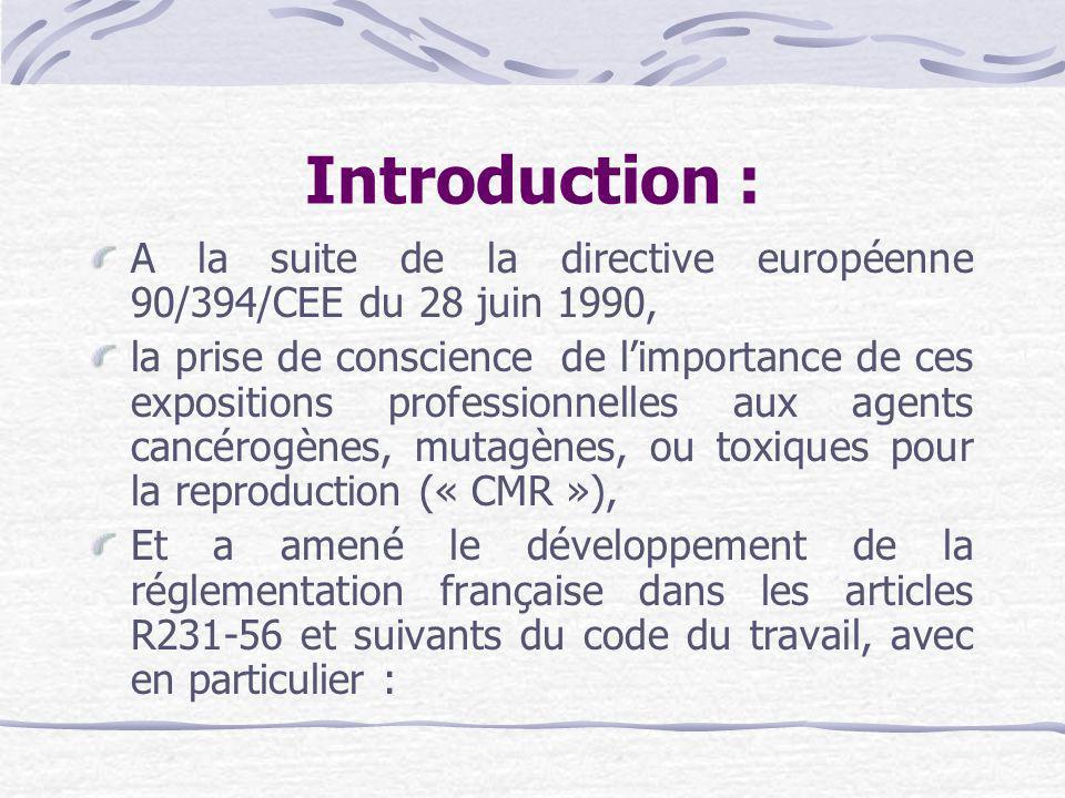 Introduction : A la suite de la directive européenne 90/394/CEE du 28 juin 1990,