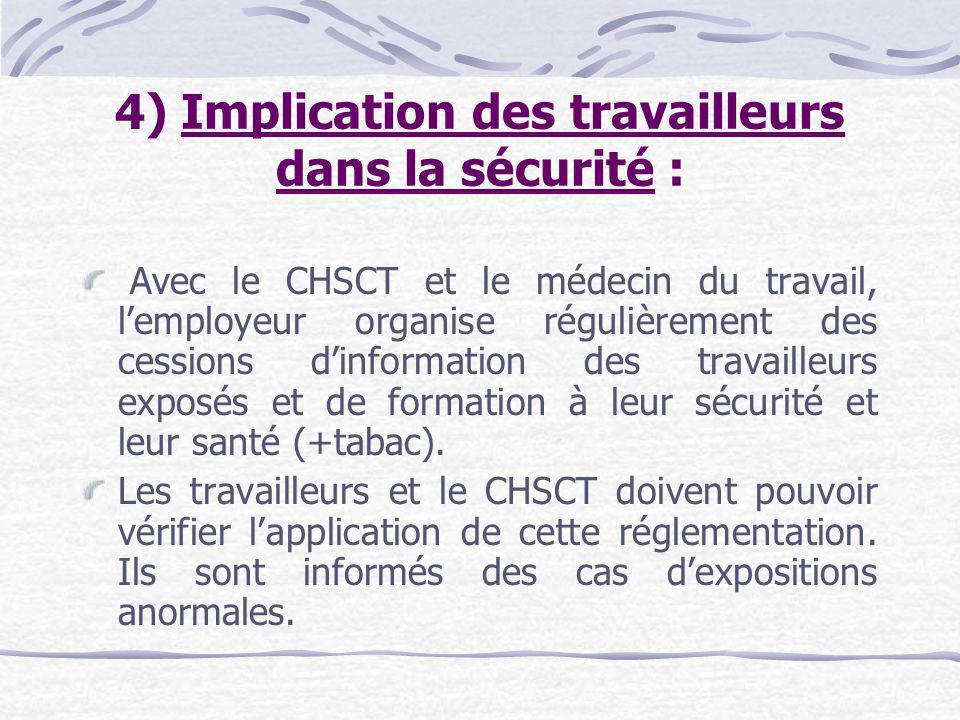 4) Implication des travailleurs dans la sécurité :