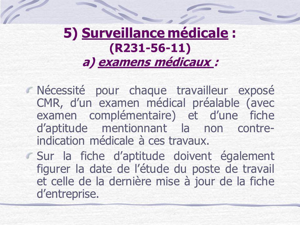 5) Surveillance médicale : (R231-56-11) a) examens médicaux :