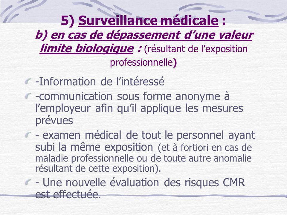 5) Surveillance médicale : b) en cas de dépassement d'une valeur limite biologique : (résultant de l'exposition professionnelle)