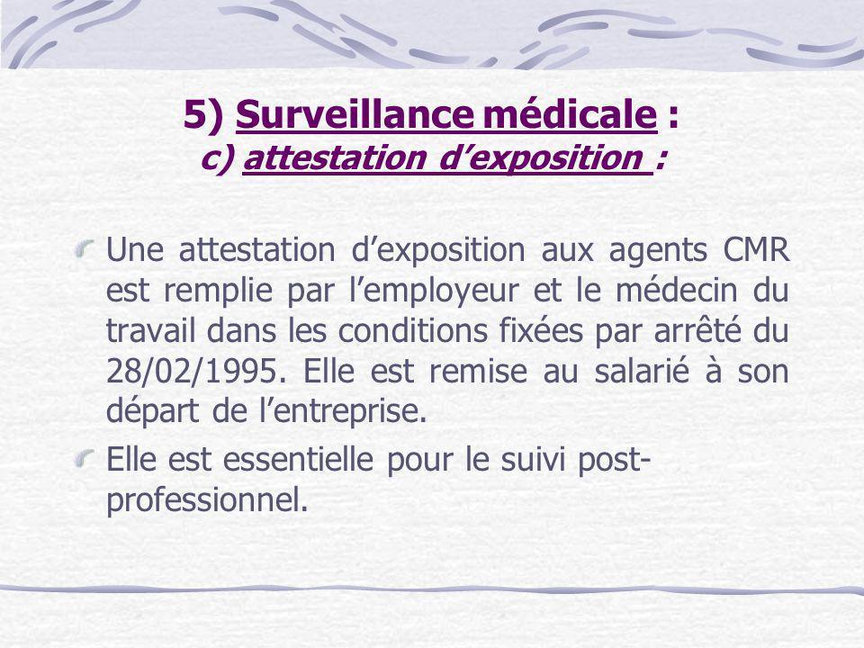 5) Surveillance médicale : c) attestation d'exposition :