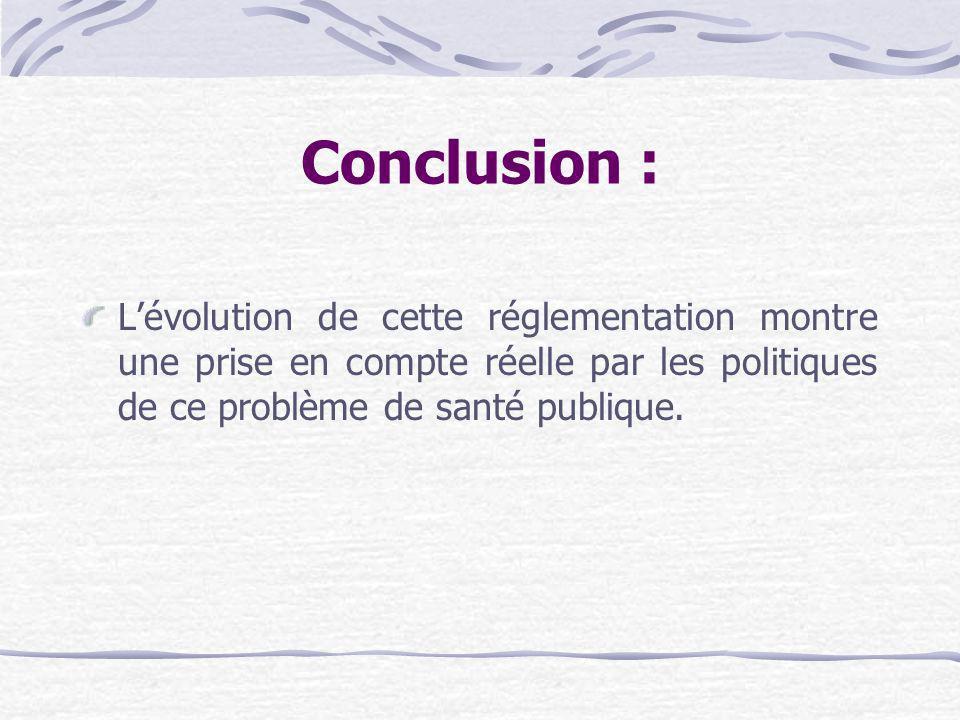 Conclusion :L'évolution de cette réglementation montre une prise en compte réelle par les politiques de ce problème de santé publique.