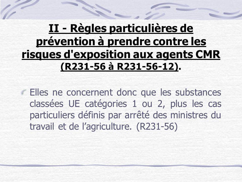 II - Règles particulières de prévention à prendre contre les risques d exposition aux agents CMR (R231-56 à R231-56-12).